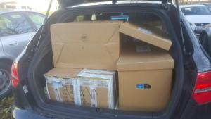 Die Hilfe nimmt gestalt an: Abholen von Hilfsgüter
